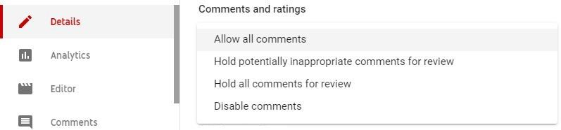 Disable YouTube video comment
