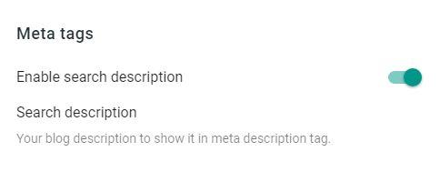 Blogger meta tags setting