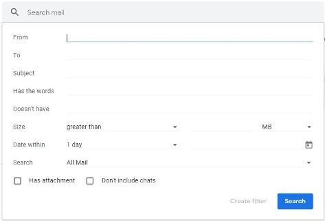 Gmail advance search form