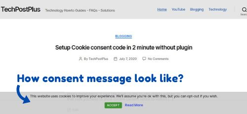 Setup cookie consent code without plugin