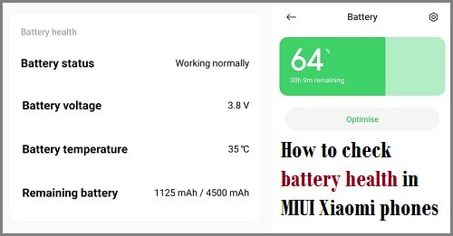 Check battery health in MIUI Xiaomi phones
