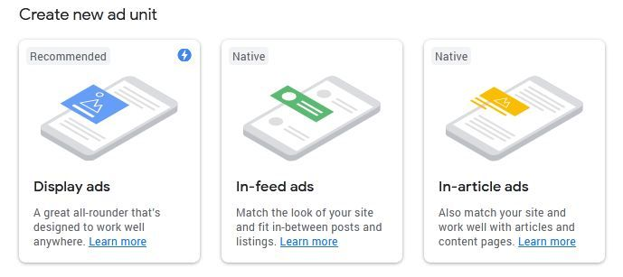 AdSense ad unit types in create new ad unit process