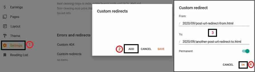 How to redirect Blogger post or page to another URL