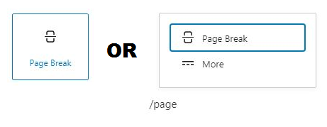 Add page break block by Block inserter icon or by typing