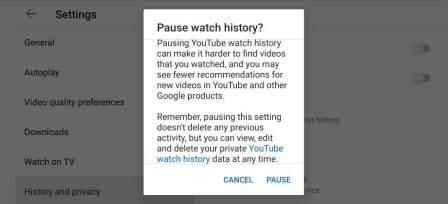 Pause Watch History on YouTube App